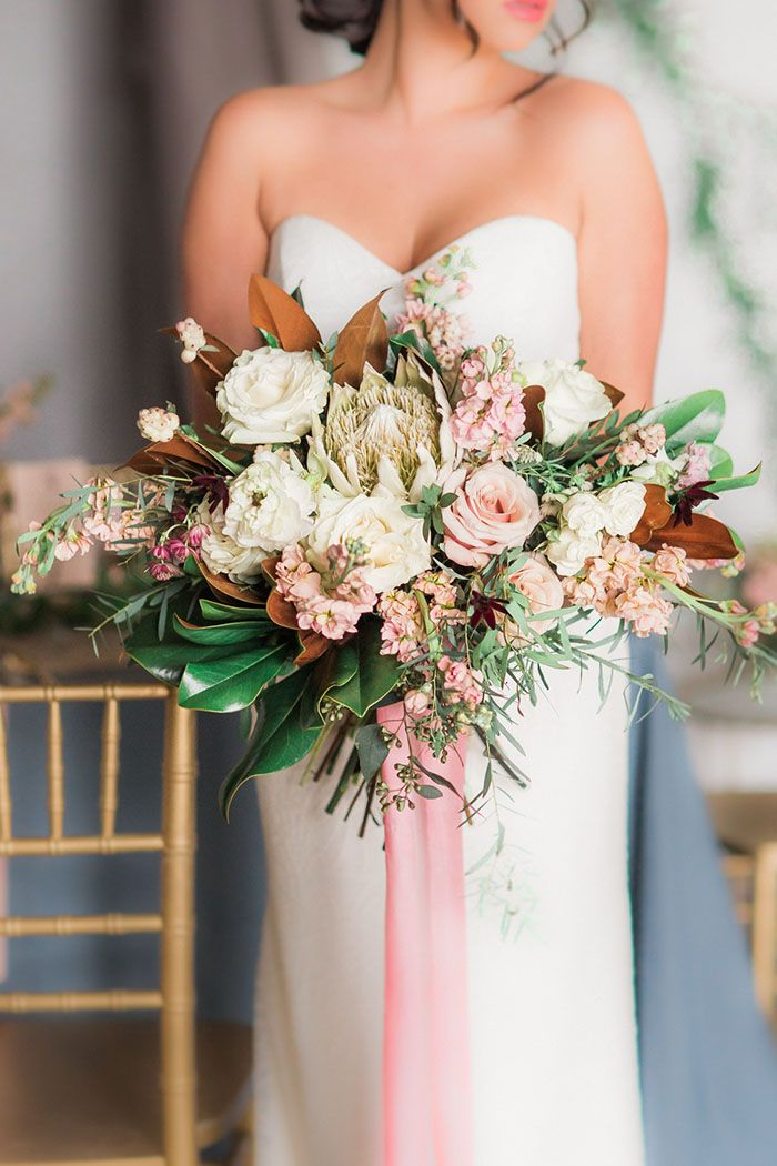 Southern Chic Bridal Bouquet with Magnolia and Protea