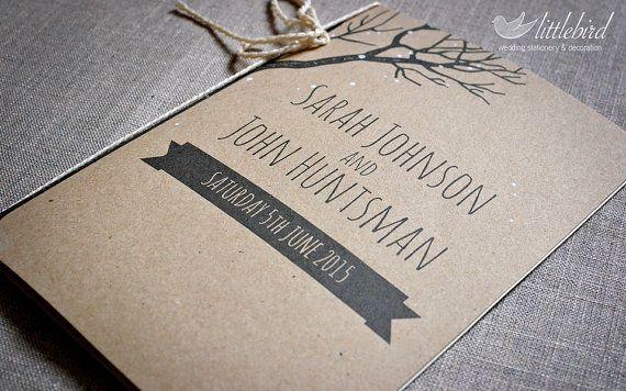 Littlebird - Winter rustic wedding order of service x25 (A5 folded, digital print)