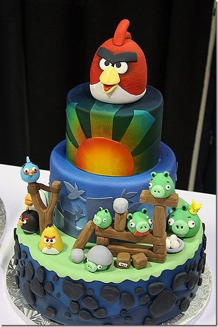 Angry birds cake -- this would be a big hit with my kids!