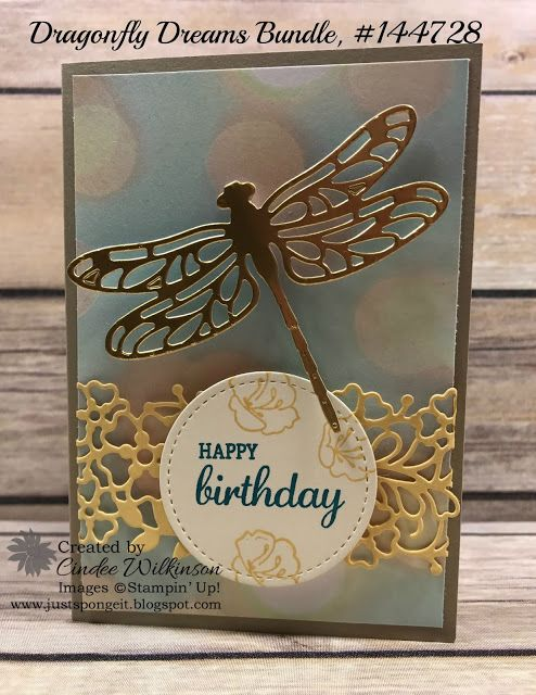Stamps: Dragonfly Dreams, Falling for You,  Best Birds.   CS: Gold Foil Paper, Falling in Love DSP, Crumb Cake,  So Saffron, Very Vanilla.   Tools: So Detailed Thinlits, Stitched Shapes Framelits,  Detailed Dragonfly Thinlits.