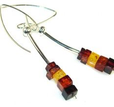 Unique Polish Amber Sterling Silver earrings