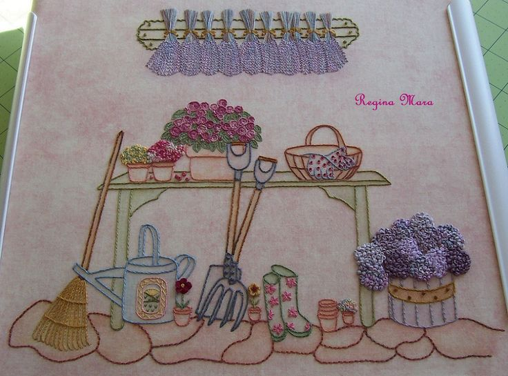 My English Country Garden Quilt - Hand embroidery with watercolour painting - block 9
