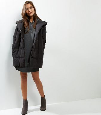 Black Padded Hooded Puffer Jacket  | New Look