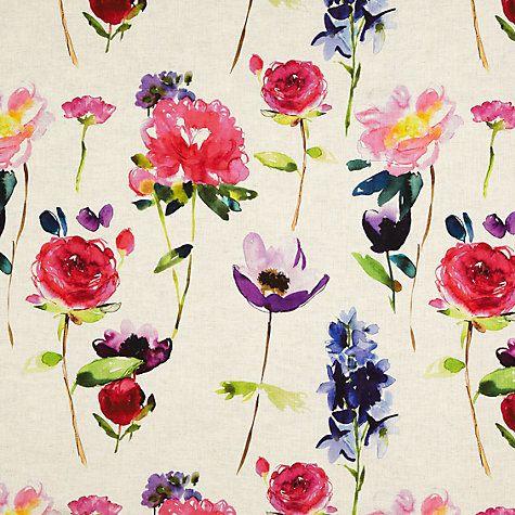Bluebellgray Red Rose Fabric, Linen - John Lewis