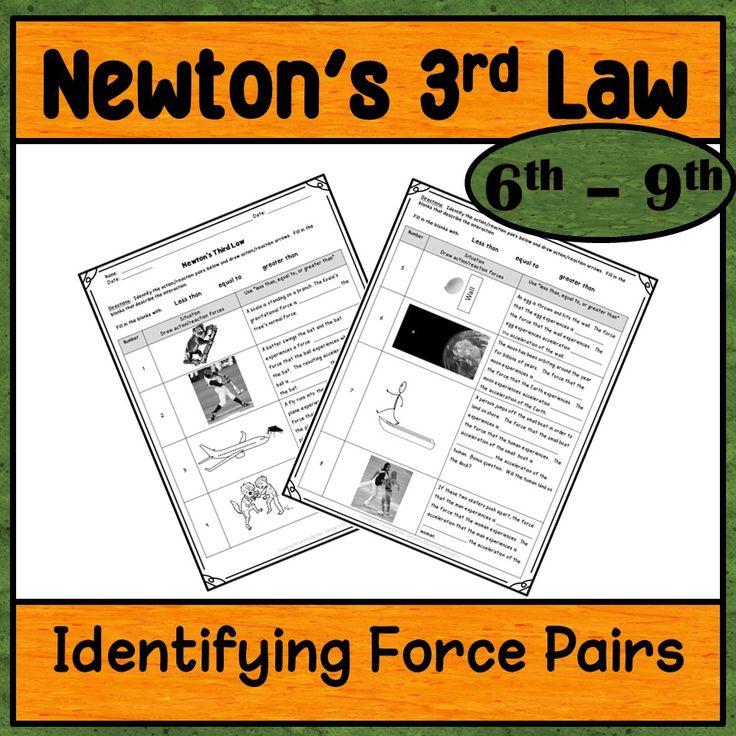 Newton's Third Law Worksheet Identifying action/reaction