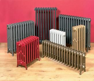 old fashioned styled radiators that have been colored for now a modern cast iron radiator look. vintage, yet classy modern
