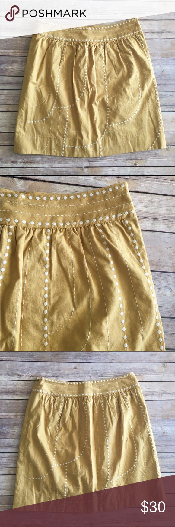 Floreat Mustard yellow skirt with cream embroidery Floreat Anthropologie mustard yellow a-line skirt with scallop embroidery. Good clndion. Measures about 33 inches around the waist and is about 19 inches long. Anthropologie Skirts A-Line or Full