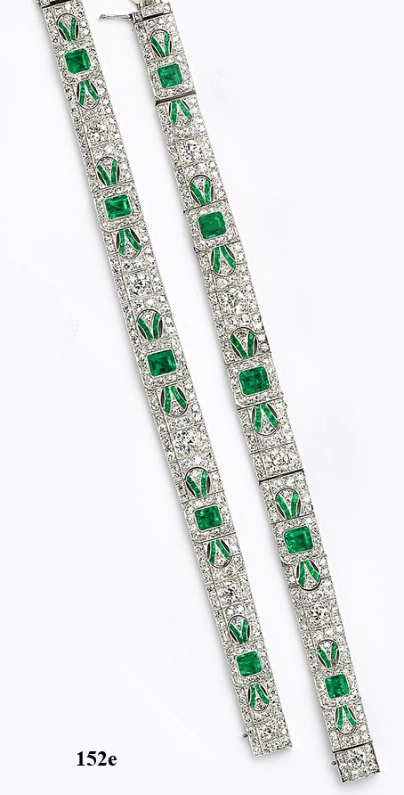 Emerald-cut emerald, calibré emerald, diamond and  platinum bracelets which convert to a necklace