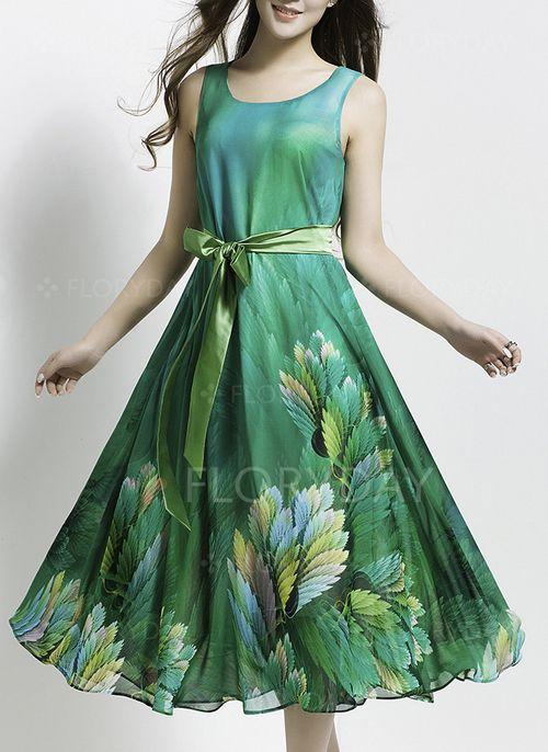 Dresses - $86.72 - Chiffon Floral Sleeveless Mid-Calf Vintage Dresses (1955103774)