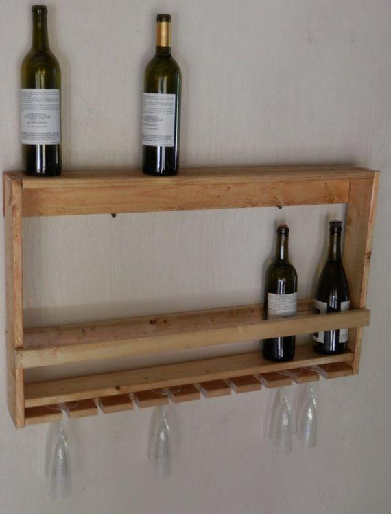 murale rustique bois vin spiritueux panier porte bouteille pour la d coration bar rangement. Black Bedroom Furniture Sets. Home Design Ideas