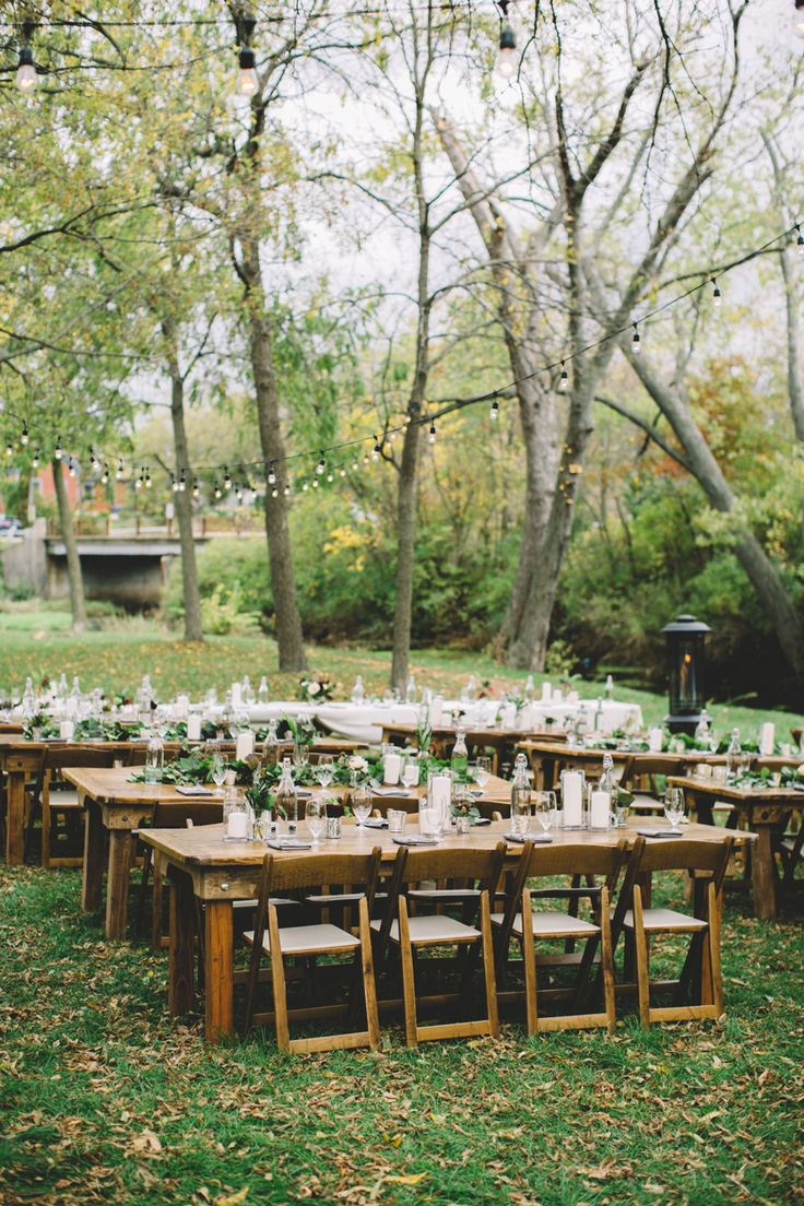 Our Fruitwood Padded Folding Chairs Are Perfect For This Outdoor Rustic