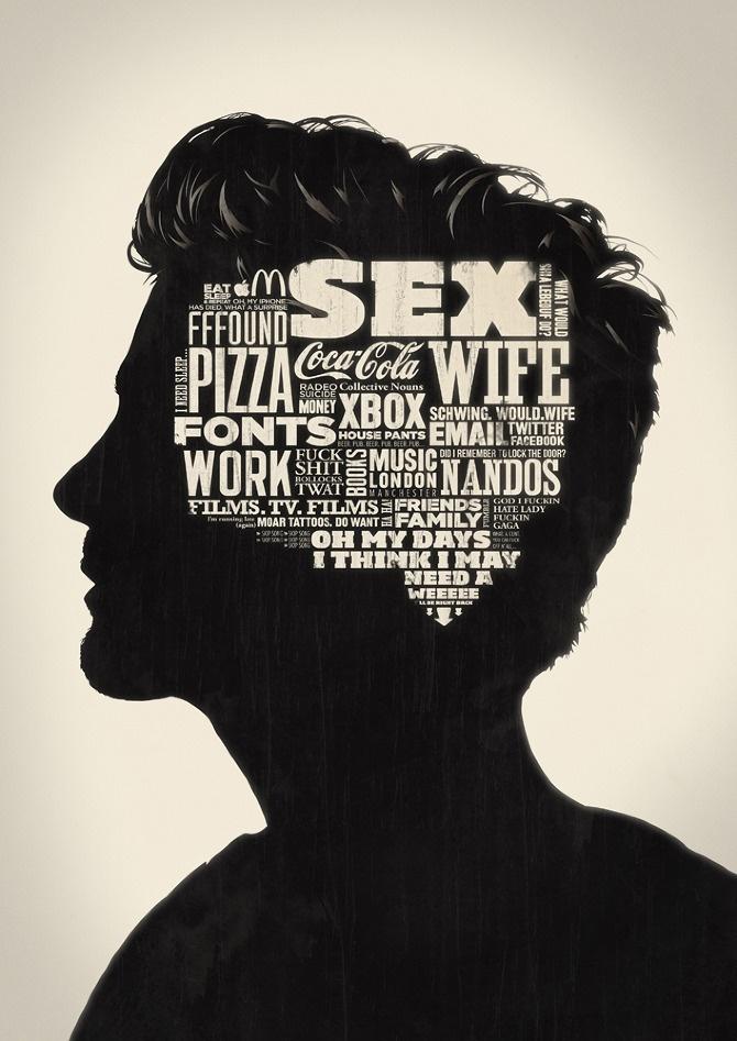 head woodcut typography