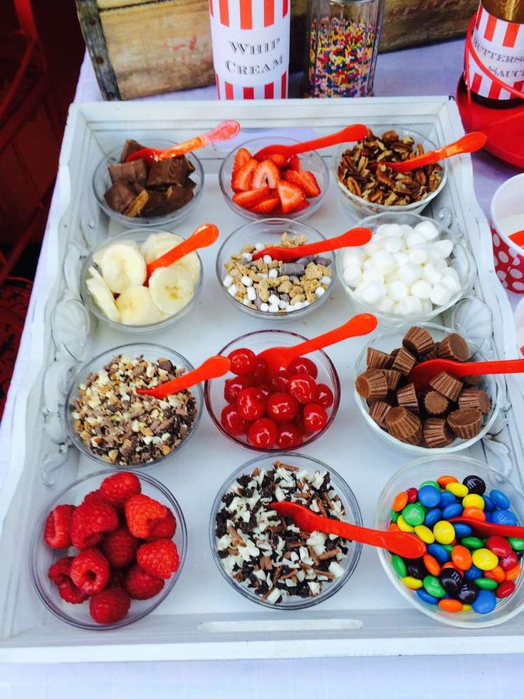 Yummy toppings at an Ice Cream Summer Party!  See more party planning ideas at CatchMyParty.com!