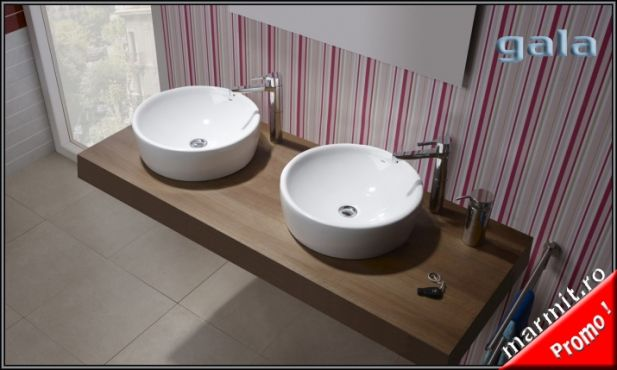 Lavoar rotund Urban pe mobilier sau blat diametru 45 cm, obiecte sanitare, cazi…