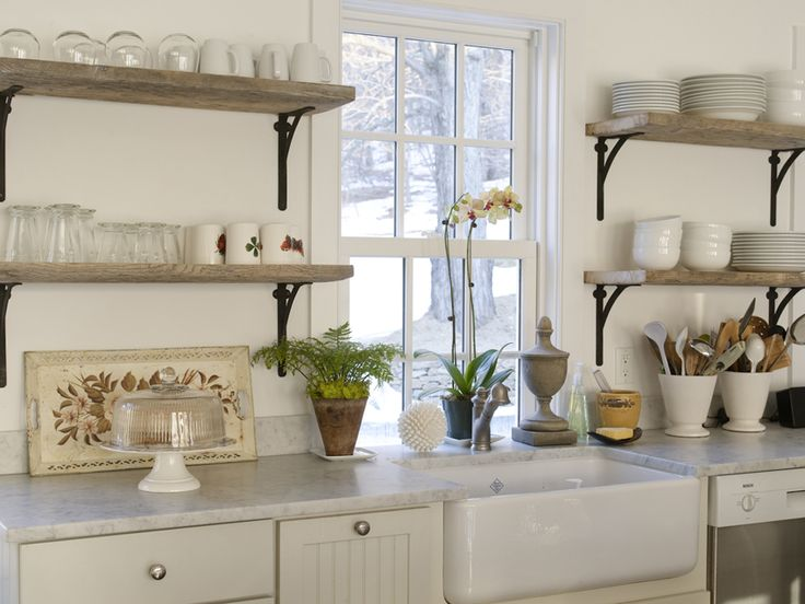 I really like these shelves... maybe just two and the one not so high. Creamy dreamy counters, and there's that sink again with that diamond manufacturer's mark.: Cabinets, Kitchens Shelves, Open Shelves, Kitchens Ideas, Sinks, Marbles, Wood Shelves, Open Kitchens, White Kitchens