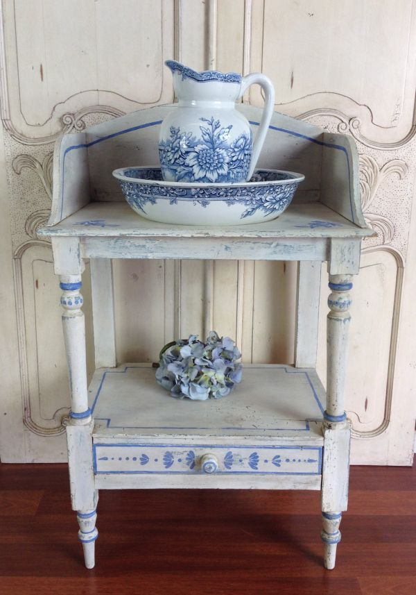 painted washstand | Details about FRENCH ANTIQUE BLUE & WHITE PAINTED TOILETTE WASH STAND ...