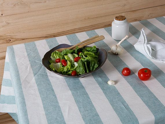 Striped Linen tablecloth in Mint and White by LinenHomeDecor