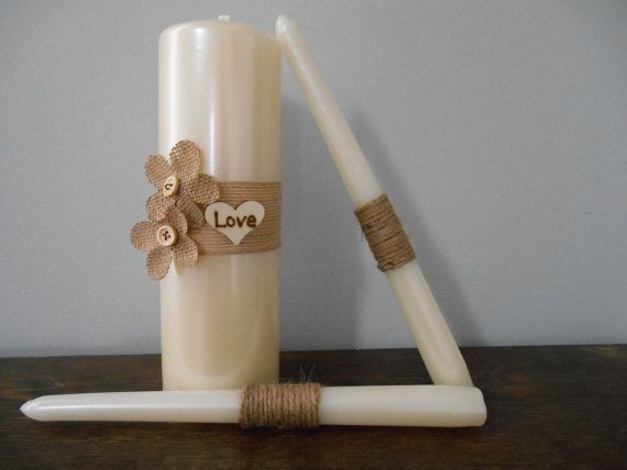 Rustic Burlap Wedding Unity Candle Set with Burlap and Twine and Personalized Wood Burned Heart