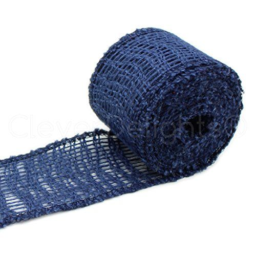 """CleverDelights 2"""" Burlap Ribbon - Finished Edge - 50 Yards - Navy Blue Color - Jute Burlap Craft Fabric ** You can get more details by clicking on the image."""