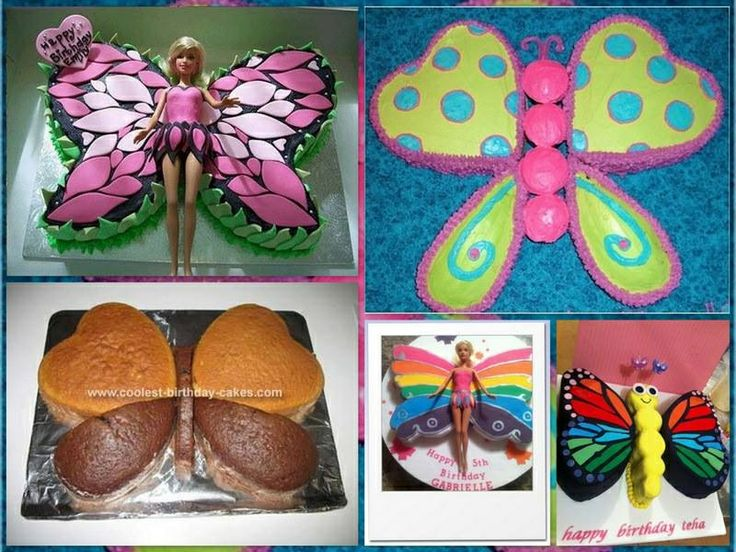 Butterfly cake...love the upper left with the Barbie.  Would be great for a little girl's birthday.