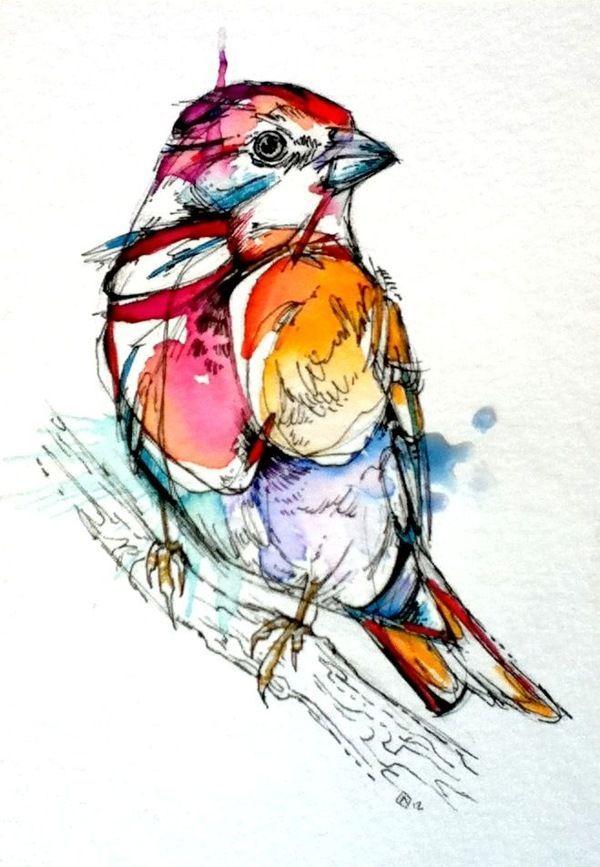 inspiration oiseau à l'aquarelle