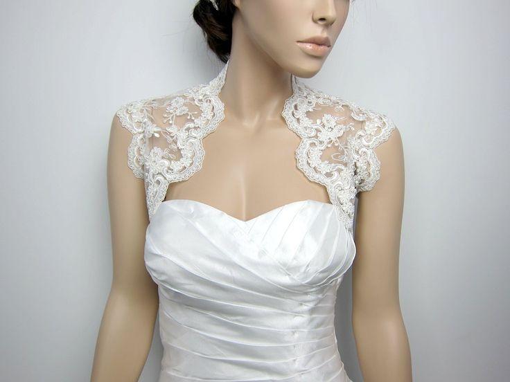 Ivory Sleeveless Bridal Embroidered Lace Bolero Wedding Bolero Jacket