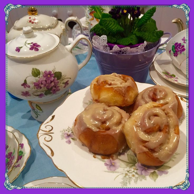 Homemade Cinnamon Scrolls on delightful Lavender and Violet China