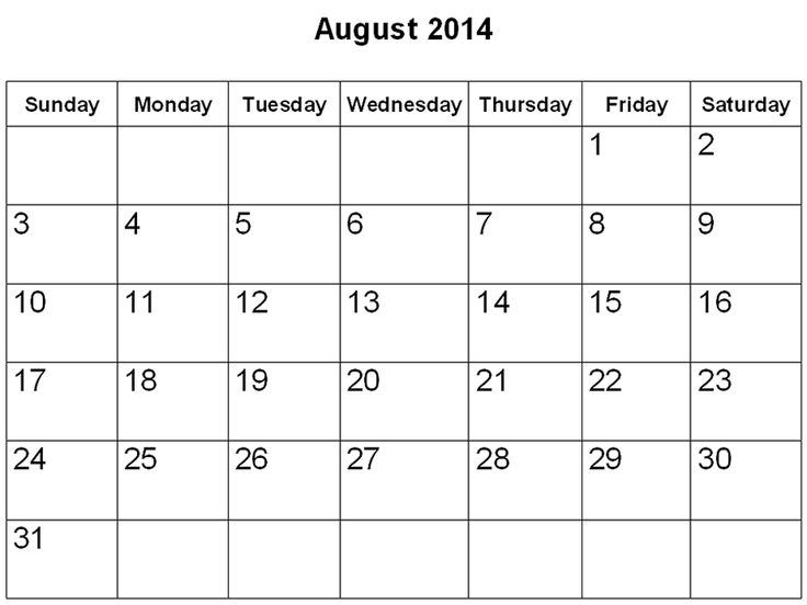 27 Best August 2014 Calendar Images On Pinterest 2014 Calendar