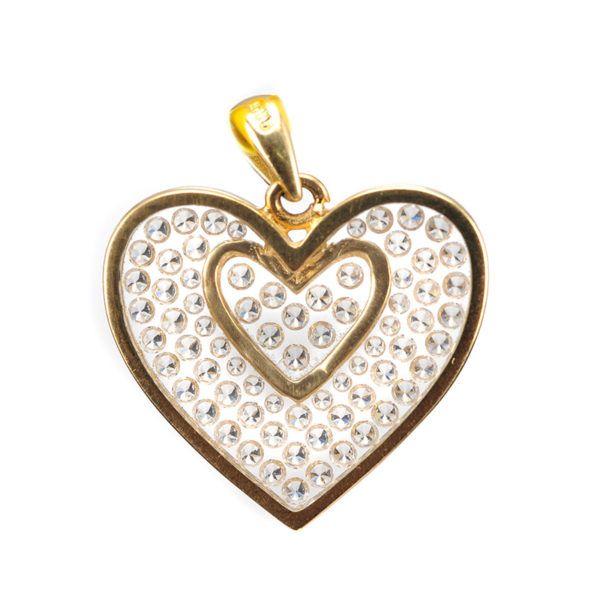 Μενταγιόν καρδιά διπλή  χρυσό Κ14 ζιργκόν