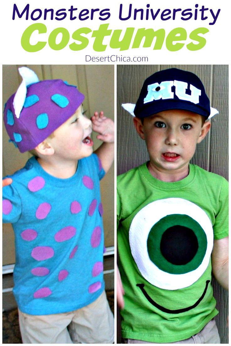 Looking for fun Monsters University costumes? These Sulley and Mike Wazowski costumes are pretty easy to throw together last minute with a few supplies. via /DesertChica/