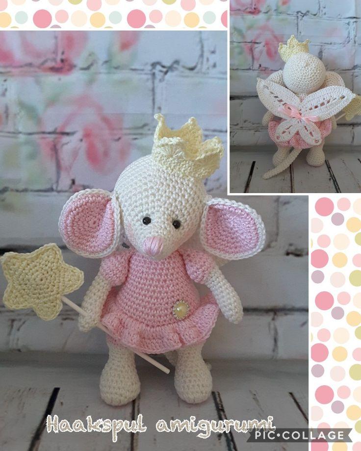Leuk muisje gemaakt, kooppatroon is van https://www.etsy.com/nl/listing/547746938/amigurumi-crochet-cute-fairy-princess