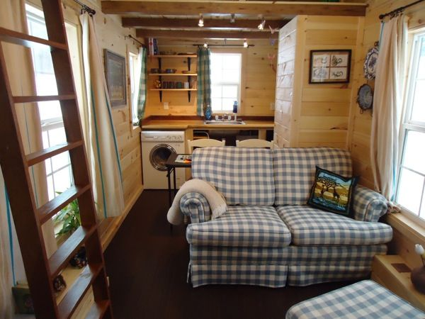Tiny House Layout With A Real Couch Oriented To Divide The Living Room From Kitchen Table Can Be Used As Extra Countertop Space And Prep Area
