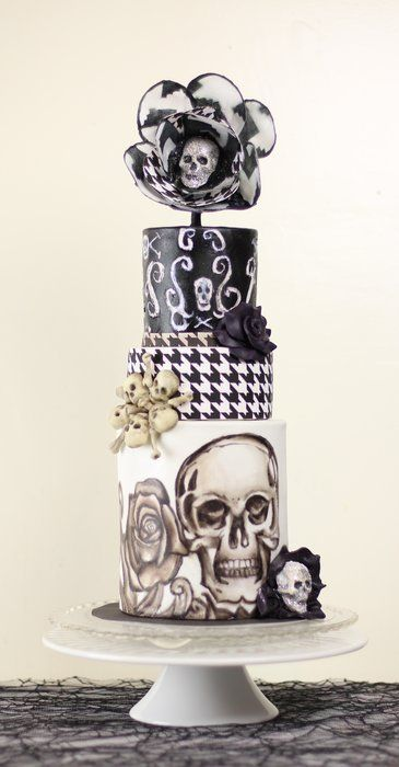 Skull and Houndstooth cake Cake by KOcakes