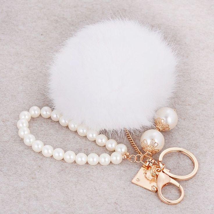 Pearl rabbit fur plush ball key chains handbag Elegant pendant pompon fluffy