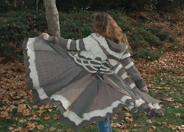 green and white celtic inspired coat