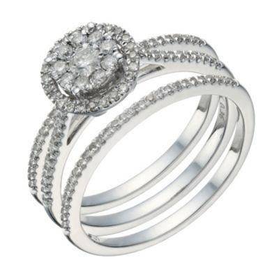 9ct white gold 1/2 carat diamond round halo bridal ring set- Ernest Jones