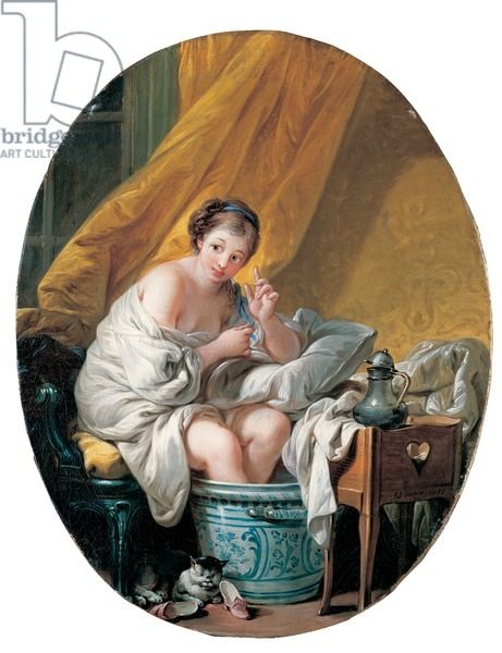 Young woman taking a footbath, 1766 (oil on canvas), Boucher, Francois (1703-70) / Private Collection / Photo © Christie's Images / The Bridgeman Art Library