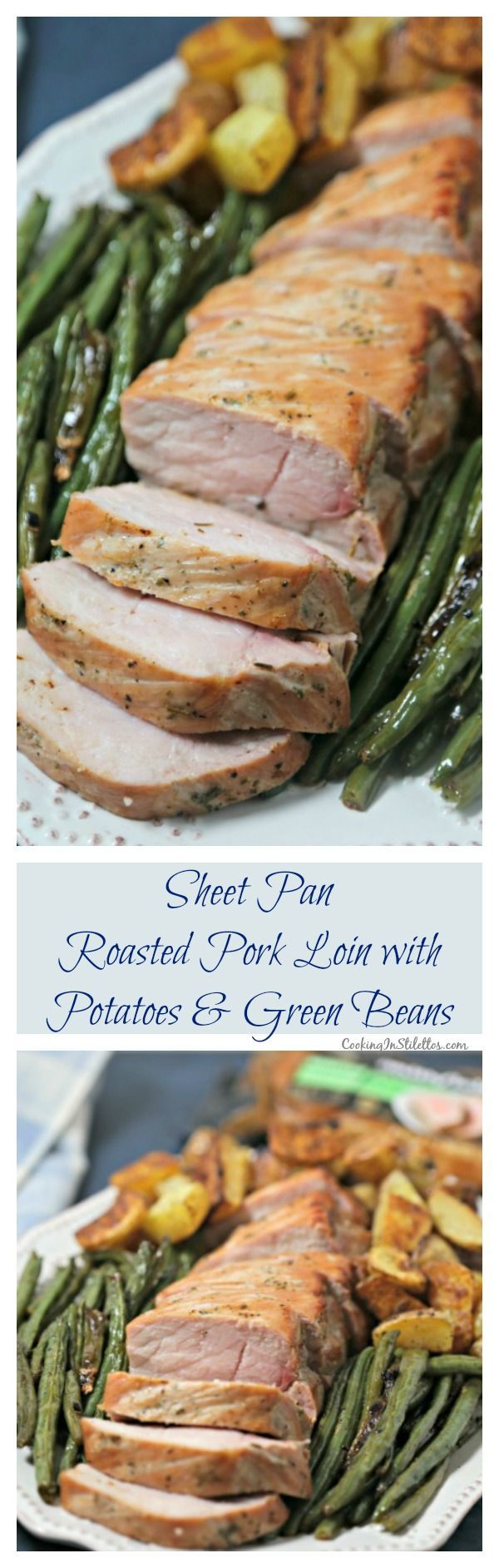 For busy weeknights, make this scrumptious Sheet Pan Roasted Pork Loin with Potatoes and Green Beans from CookingInStilettos.com. Ready in 30 minutes thanks to Smithfield®️️ Marinated Fresh Pork, this easy sheet pan dinner will be a family favorite!  #RealFlavorRealFast With @SmithfieldFoods and @Walmart. #AD | Roasted Pork Loin | Sheet Pan Dinner | 30 Minute Meal | Weeknight Dinner  | Pork | Oven Roasted Pork | Pork Loin Filet | Smithfield Pork | Sheet Pan Recipe via @CookInStilettos