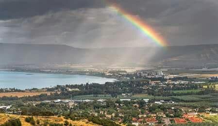 Rainbow over the Sea of Galilee.... Beautiful promise...