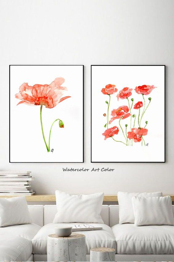 Abstract Poppy Watercolor Painting Flowers Wall Art Print Etsy In 2020 Etsy Art Prints Wall Art Prints Flower Wall Art