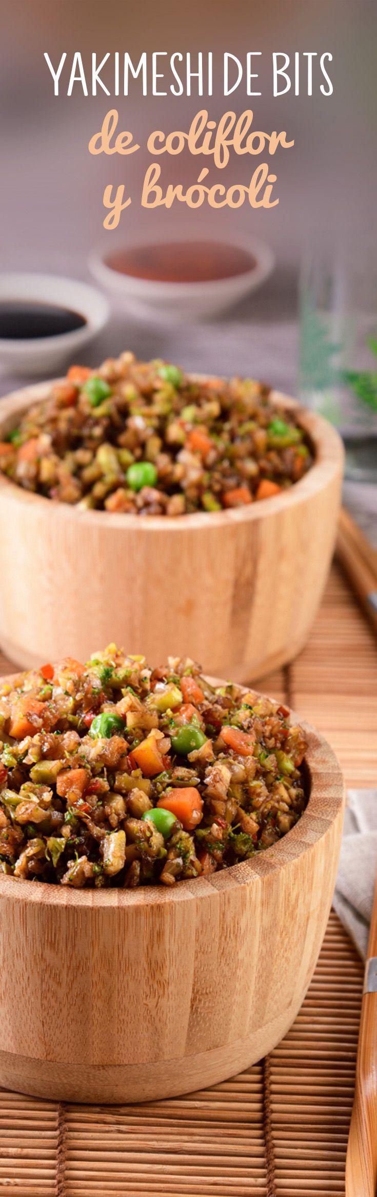 Yakimeshi de coliflor y brócoli oriental. Una receta vegetariana o para dietas que te quitará el antojo de arroz