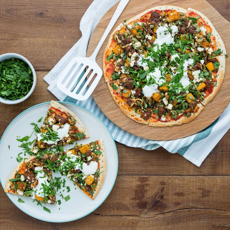 Middle Eastern Spiced Lamb, Butternut and Feta Pizzas