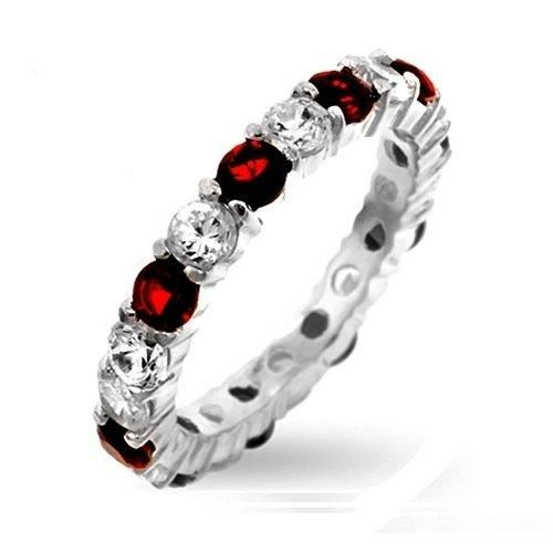 Bling Jewelry Sterling Silver Ruby Color and Clear CZ Eternity Band Ring