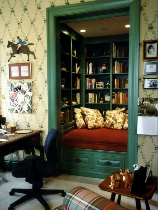 Reading nook out of closet. I am going to do this in my office.. I love it!!! Perfect for when my grandchildren visit..