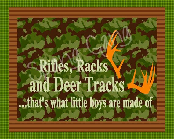 "Hunting Camo Nursery Decor. Deer, animal, rustic baby 8x10 digital photo file - instant download. ""What little Boys are made of"" on Etsy, $5.00"