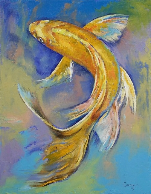 Orenji Butterfly Koi by Michael Creese. The Butterfly is the most beautiful of all Koi because of the tail. I have both varieties and I love them all. So graceful in movement.