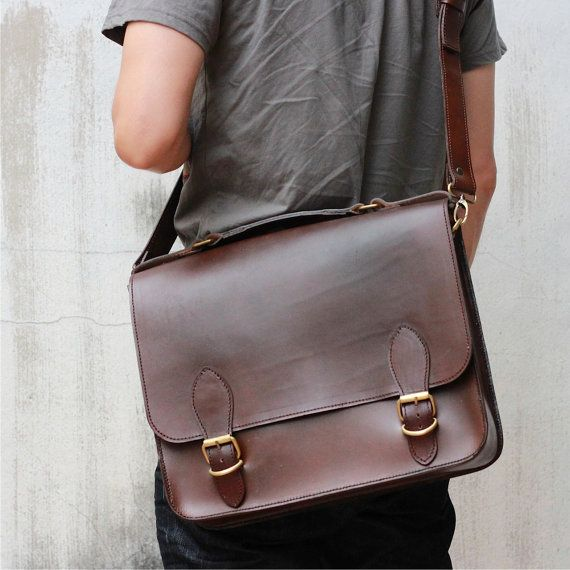 Leather Briefcase -- Men's Briefcase - Leather Briefcases - Messenger Bag - Women's Leather Briefcase - Brown Business Briefcases on Etsy, $234.00