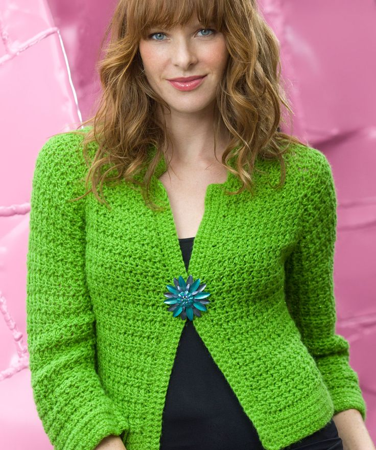 FREE PDF DWNLOAD: Experienced, 'Sparkling Crochet Cardi' #WR2134. Designed By: Heather Lodinsky. YARN: RED HEART® Shimmer™: 4 (5, 5, 6, 6) Balls of 1625 Lime.