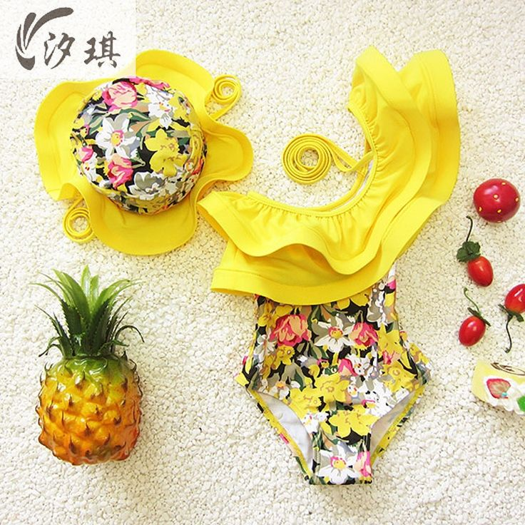 xiqi one piece swimsuit floral swimming suit for kids girl toddler girl bathing suits clothes kids swimwear with swimming cap