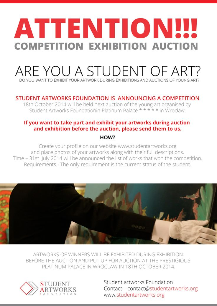 Naturally, the competition it's ALSO ADDRESSED TO STUDENTS ALREADY AFFILIATED WITH THE FOUNDATION! The artworks you want to report to the  competition send to contact@studentartworks.org. 31st July will be announced list of the winners -artworks which won the competition among students affiliated and those who just joined Student Artworks Foundation. Click on the image to read more.